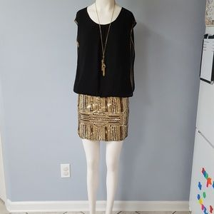Moon Collection black and gold sequin mini